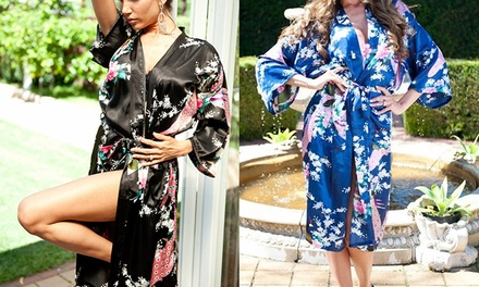 Silk KimonoStyle Long Nightgown: One $17 or Two $27 Don't Pay up to $119.90
