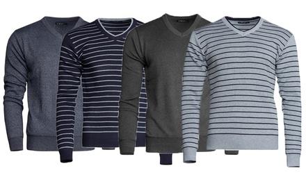 Pull en laine mélangée col V pour Homme collection Howard