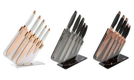 Tower FivePiece Damascus Print Knife Set with Acrylic Mirror Stand