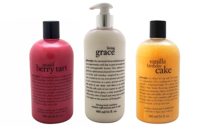 philosophy bath and shower gels groupon goods philosophy mimosa shampoo bubble bath and shower gel