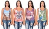 Jada Lace-Back Printed Tank Tops: Jada Lace-Back Printed Tank Tops