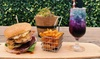 Burger with Chips and Cocktail