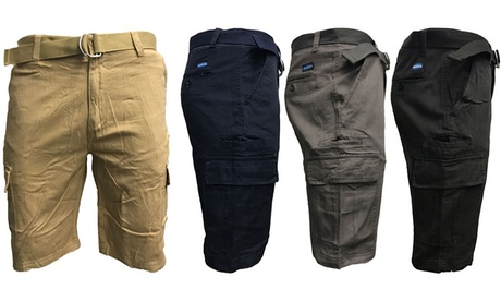 Men's 7-Pocket Slim Fit Cargo Shorts with Belt