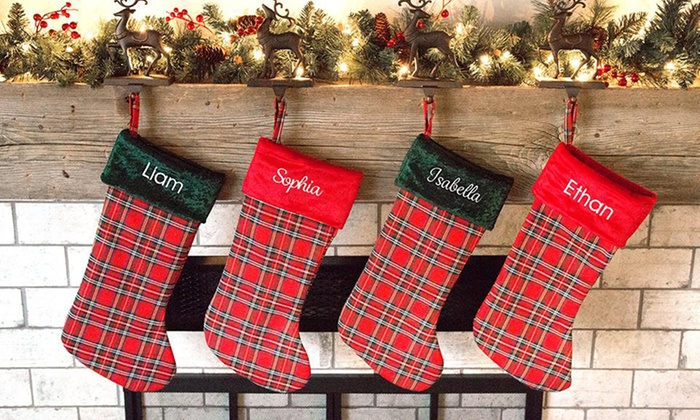 embroidered plaid christmas stockings from qualtry up to 87 off five