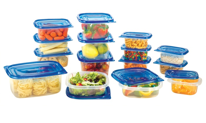 Reusable Plastic Food Storage Container Set (30 or 50-Piece)