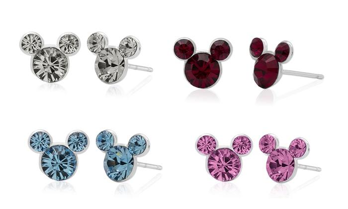 Disney's Mickey Mouse Crystal Birthstone Earrings in Sterling Silver:  Disney's Mickey Mouse Crystal Birthstone Earrings ...