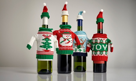 2, 4, 8, or 12 Ugly Sweater Wine-Bottle Covers from Splash Wines (Up to 88% Off)