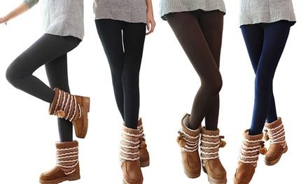 Lot de 5 leggings en polaire, mode et glamour