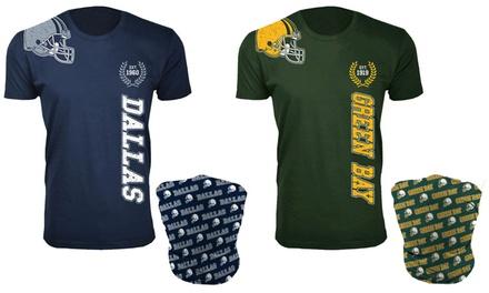 Men's Cotton Football Home Team T-Shirt with Matching Neck Gaiter