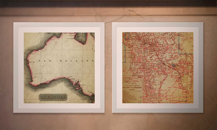 Personalized vintage maps print artf groupon artf 10x10 or 15x15 personalized vintage maps gumiabroncs Images