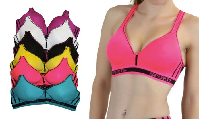 6-Pack of Racerback Sports Bras in Regular and Plus Sizes | Groupon
