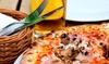 Menu pizza con antipasto, dolce e birra