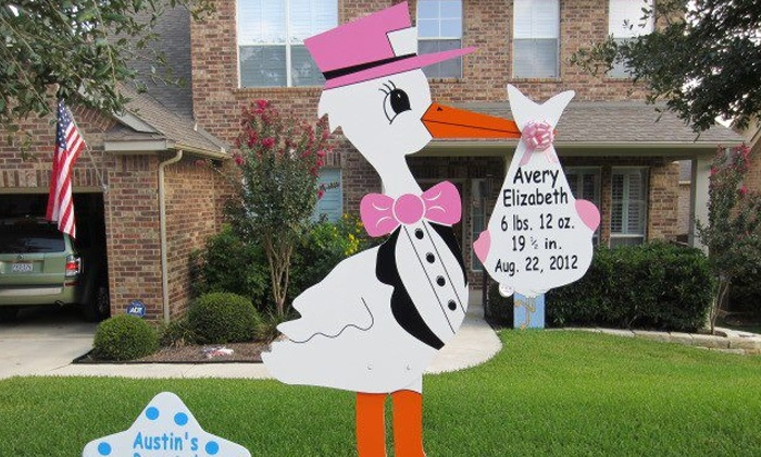 Precious Bundles Stork Greetings - Durham: Rental of Lawn Sign Announcing New Baby Boy, Girl, or Twins from Precious Bundles Stork Greetings (Half Off)
