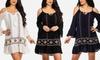 Women's Cold-Shoulder Boho Tunic Dress: Women's Cold-Shoulder Boho Tunic Dress