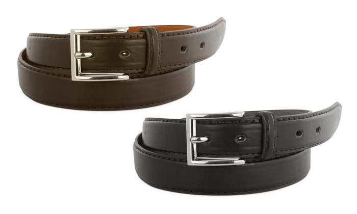 Men's Genuine Leather Dress Belts (2-Pack)