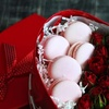 Valentine's Day Gift Box with Roses and Macaroons