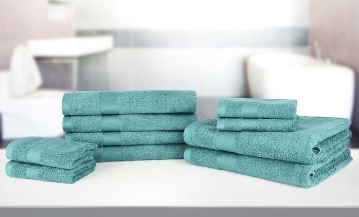 10-teiliges Handtuch-Set Bale aus 100% ägyptischer Baumwolle in der Farbe nach Wahl