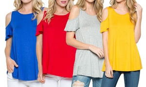 b952042b66e1 Acting Pro Women's Solid Cold Shoulder Top ...