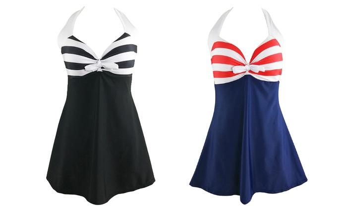 Plus-Size Stripe Swimdress: Plus-Size Stripe Swimdress