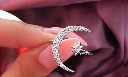 1 o 3 anillos para mujer modelo luna y estrella
