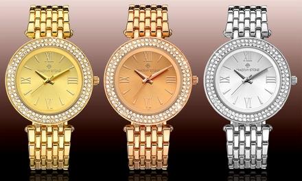 Timothy Stone Armbanduhr mit Kristallen von Swarovski® verziert in Gold, Weißgold oder Roségold (86% sparen*)
