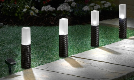 Set of Four Rattan Effect Solar Pathway Lights