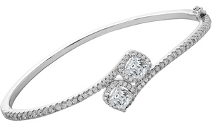 Cubic Zirconia Halo Bangle in 18K Gold Plating by Elements of Love