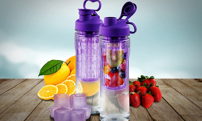 28oz. Fruit Infuser Water Bottle with Reusable Ice Cubes