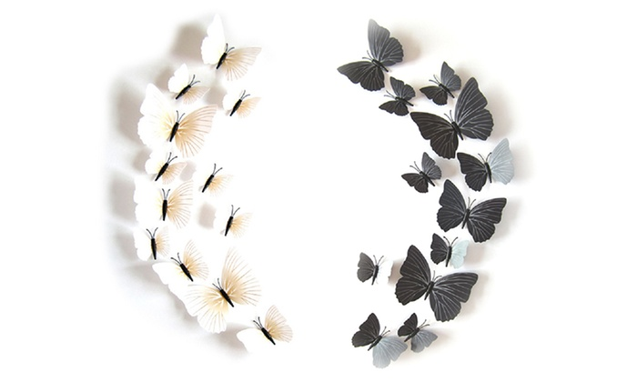 White or Black Wall Butterflies (12-Piece)