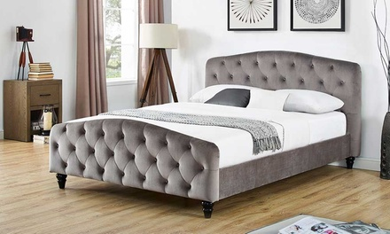 chesterfield grey fabric bed frame