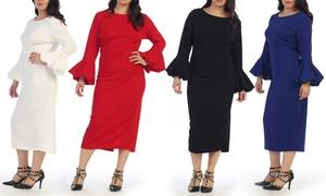 Melania Women's Plus-Size Bell-Sleeve Dress