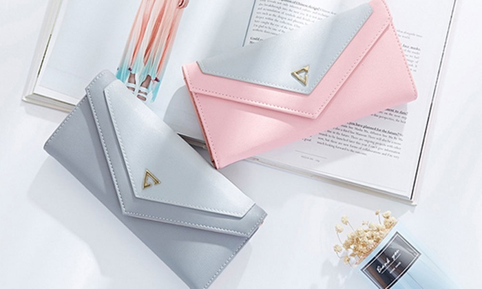 Vincenza Designer Women's Two-Tone Envelope Clutch Wallet