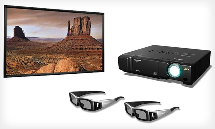 "Sharp HD Projector with Optional 106"" Screen: Sharp 1080p HD 3D-Capable DLP Projector with Option for 106-Inch Screen (70% Off). Free Shipping."