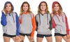 Women's Oversized Color-Block Henley Hoodie with Brushed-Fleece Lining