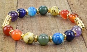 Genuine Gemstone Healing Chakra Beaded Bracelets by Pink Box