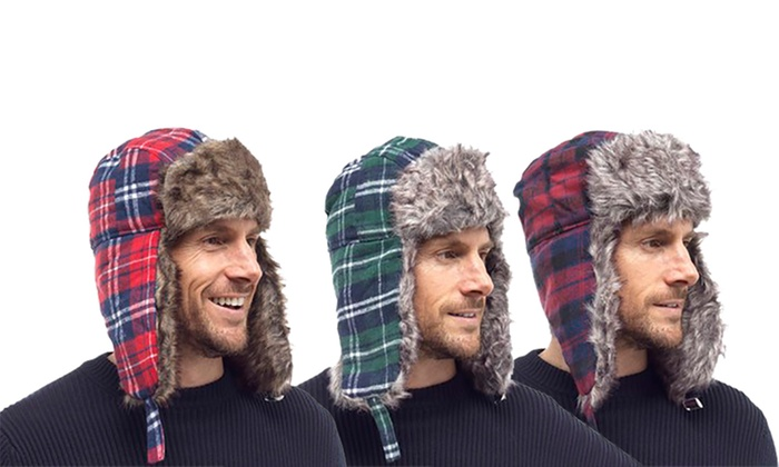 Men's Checked Trapper Hat with Faux Fur Lining for £2