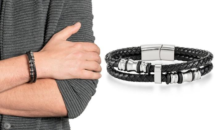 rivenditore di vendita be5c8 7cc61 1 o 2 bracciali da uomo in cuoio con dettagli in acciaio