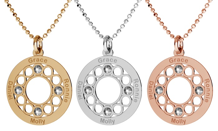 Silvexcraft Design: Personalised Round Openwork Necklace with Crystals from Swarovski® With Free Delivery