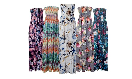 Ruched Sheering Floral Dress