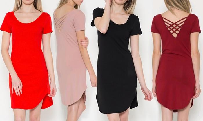 Women's Round-Hem Crisscross-Back Dress