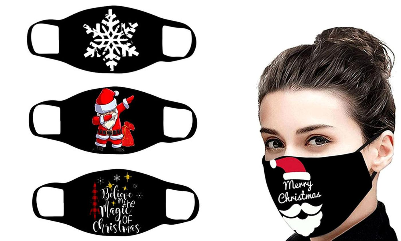 Reusable Three-Layer Cotton Christmas Mask