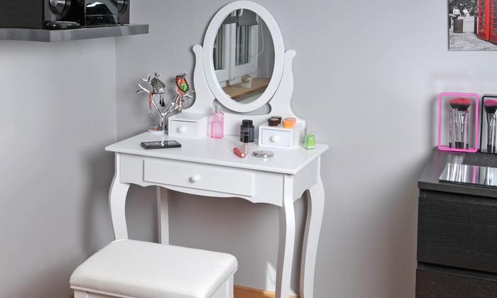 coiffeuse avec miroir et tabouret groupon shopping. Black Bedroom Furniture Sets. Home Design Ideas