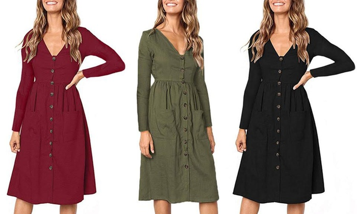 eb6d0357448 Up To 75% Off on Jackie Long Sleeve Button Dress