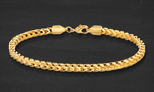 Men's 4mm Franco Chain Bracelet in 18K Gold Plated Brass