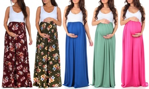 Women's Ruched Color Block Maternity Dress