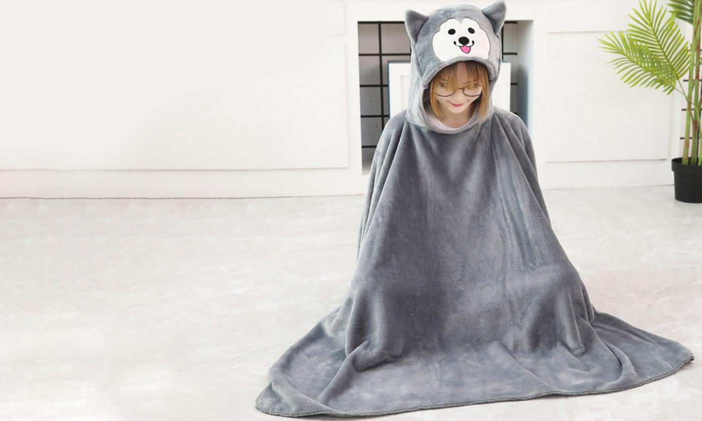 Cartoon Hooded Cloak Blanket