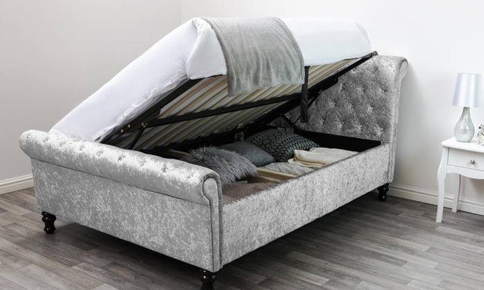 St James Diamante Sleigh Solid or Side Lift Bed with Optional Mattress