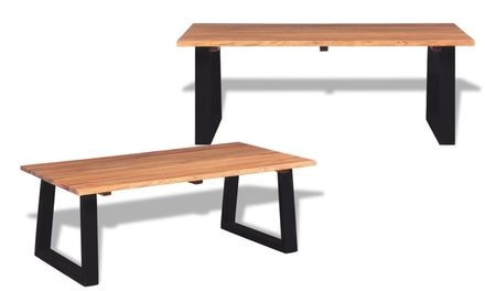 Jusqu 39 48 table basse en bois massif groupon for Groupon table basse