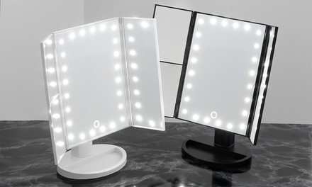 One or Two Globrite Trifold Mirrors with LED Lights