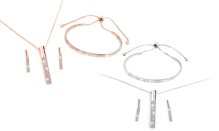 Quilo Three-Piece Jewellery Set Made with Crystals from Swarovski®